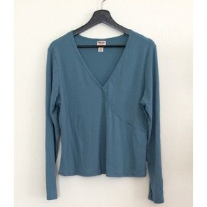 Mossimo Teal Wrap Blouse